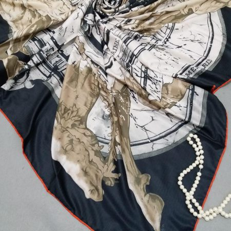 روسری ابریشم توییل کجراه دور دوخت sr-n256