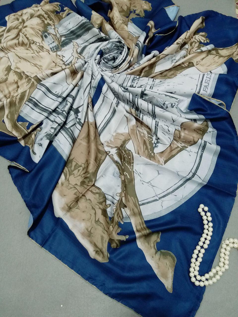 روسری ابریشم توییل کج راه دست دوزsr-n257 از نمای نزدیک