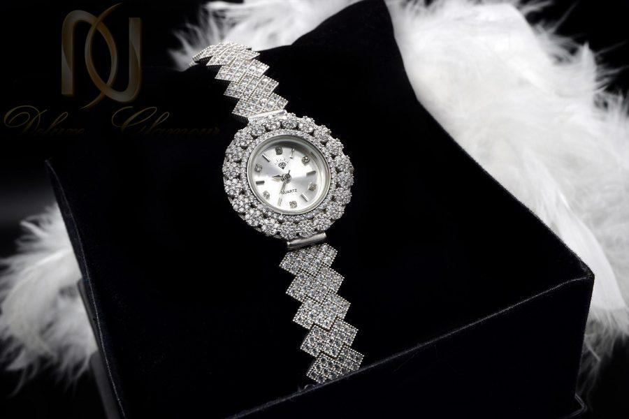 ساعت زنانه نقره اصل 925 جواهری wh-n126 از نمای مشکی