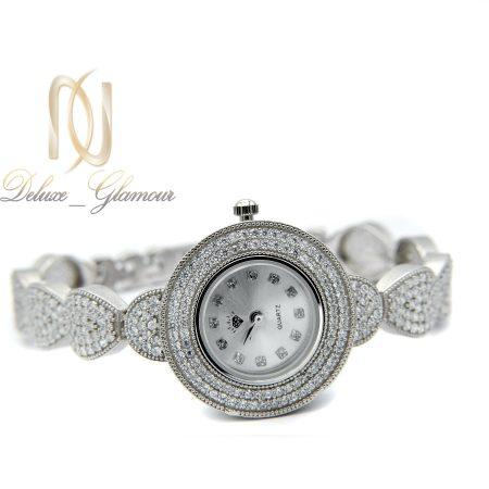 ساعت نقره زنانه جواهری طرح اشک wh-n127 از نمای سفید