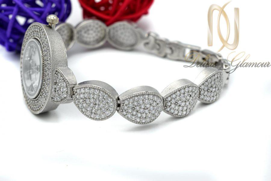 ساعت نقره زنانه جواهری طرح اشک wh-n127 از نمای کنار