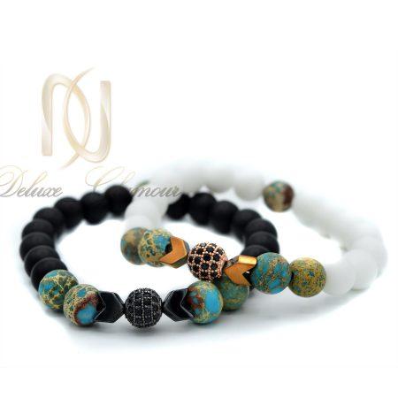 ست دستبند عاشقانه سنگی اسپرت za-n101 از نمای سفید