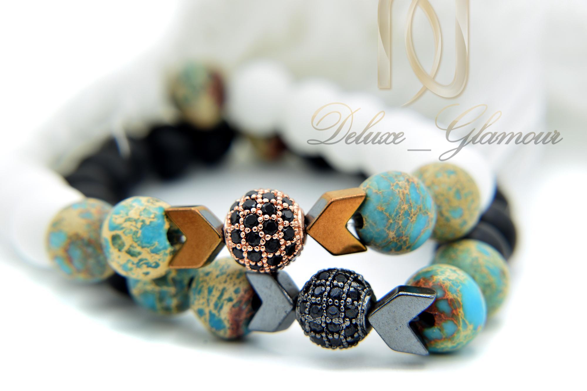 ست دستبند عاشقانه سنگی اسپرت za-n101 از نمای روبرو