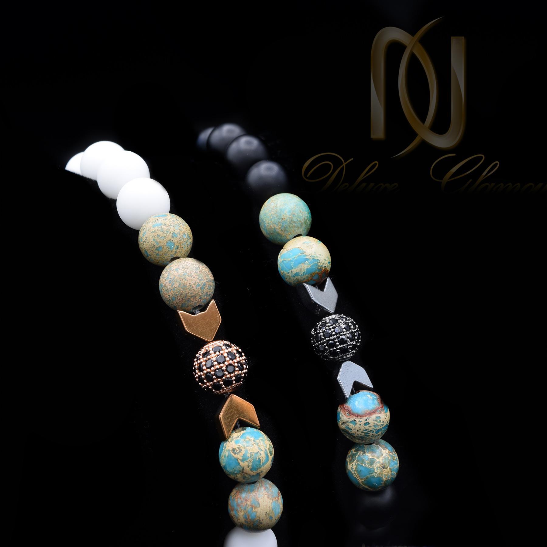 ست دستبند عاشقانه سنگی اسپرت za-n101 از نمای مشکی