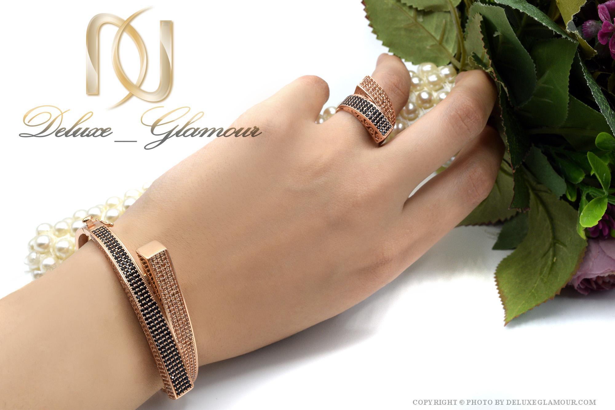 ست دستبند و انگشتر نقره رزگلد ns-n412 از نمای روی دست