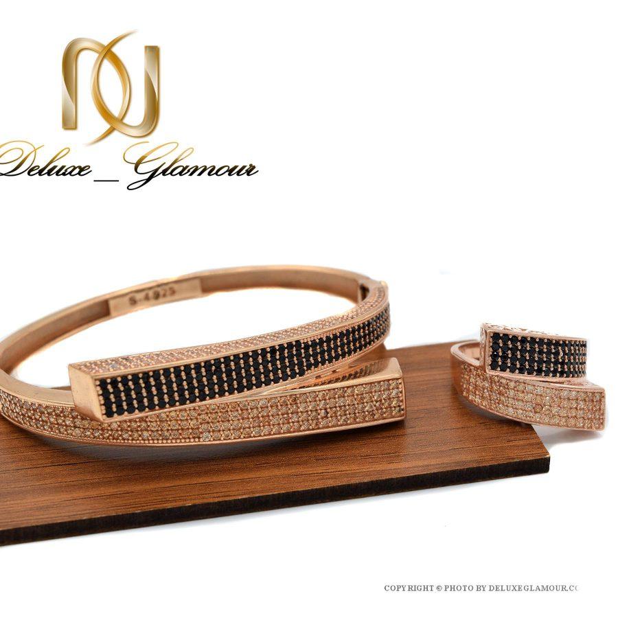 ست دستبند و انگشتر نقره رزگلد ns-n412 از نمای روبرو