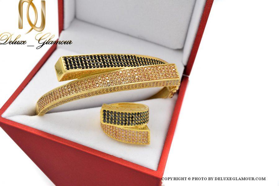 ست دستبند و انگشتر نقره زنانه طلایی ns-n410 از نمای بالا