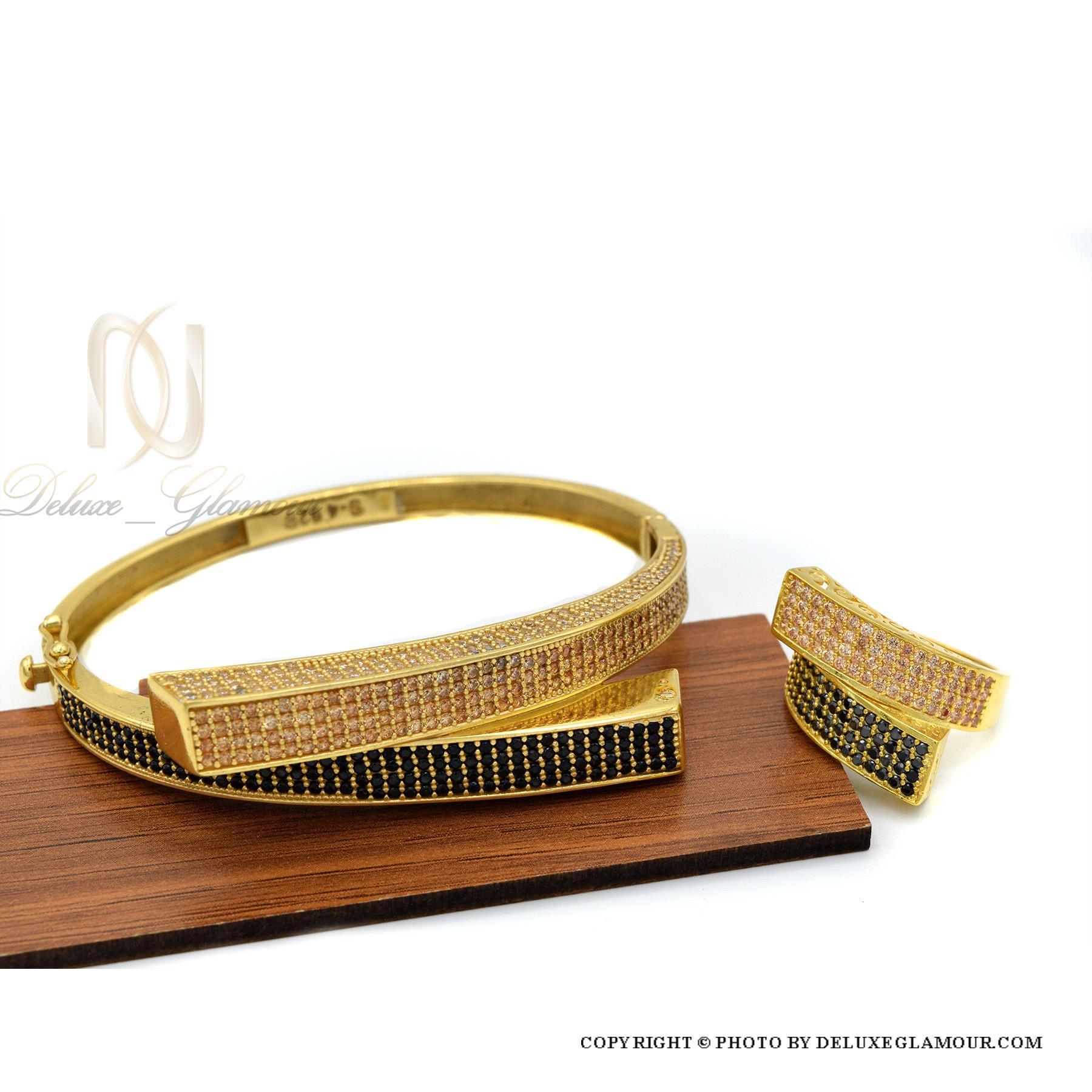 ست دستبند و انگشتر نقره زنانه طلایی ns-n410 از نمای دور