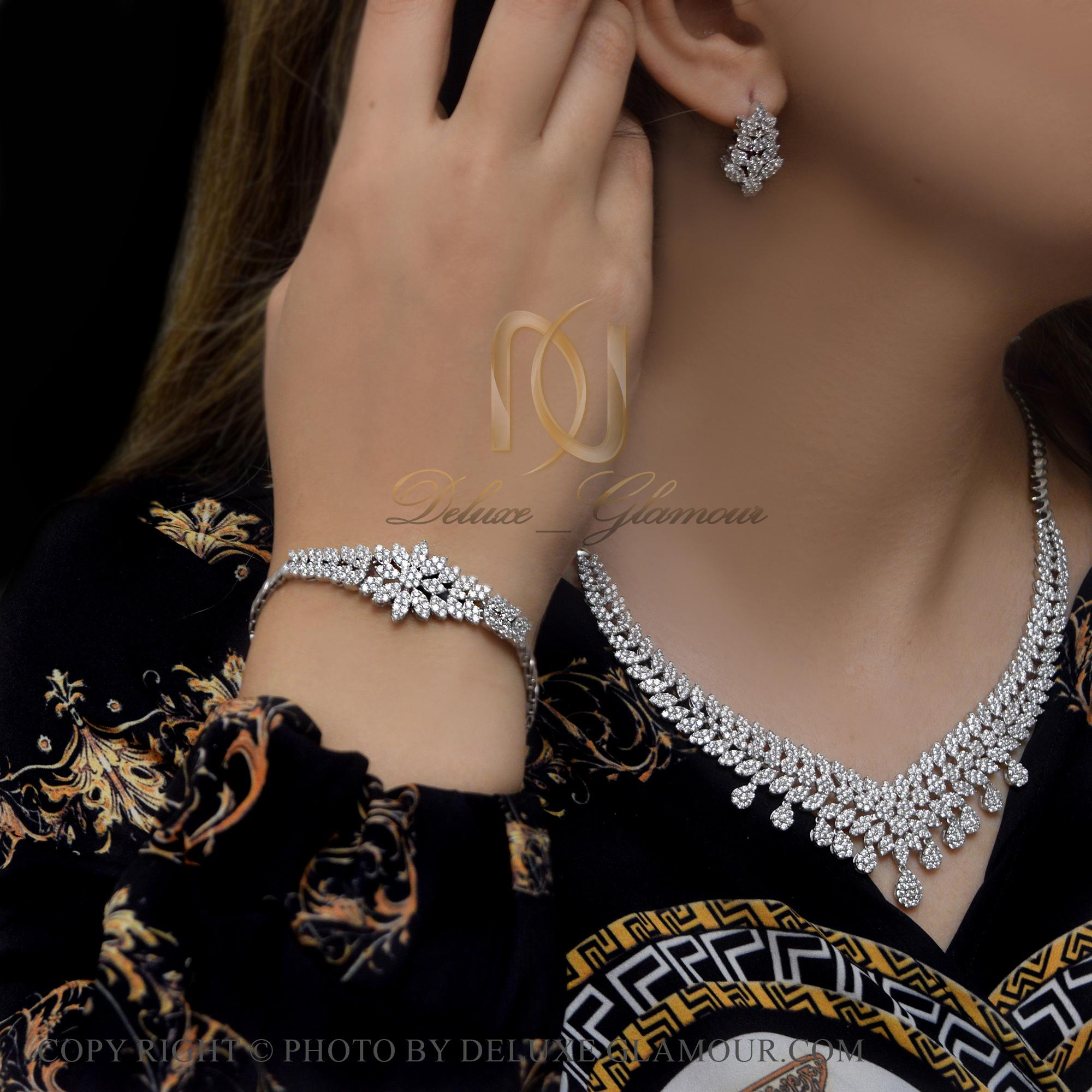 سرویس نقره عروس نگین دار جواهری ns-n415 از نمای روبرو