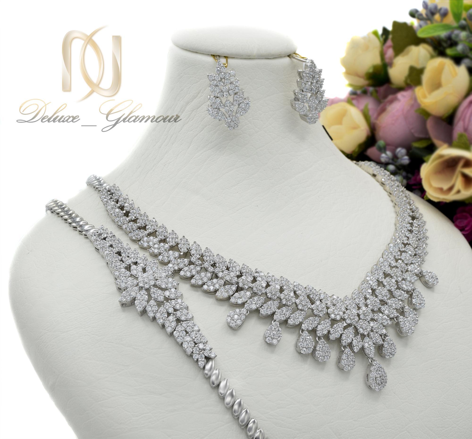 سرویس نقره عروس نگین دار جواهری ns-n415 از نمای سفید