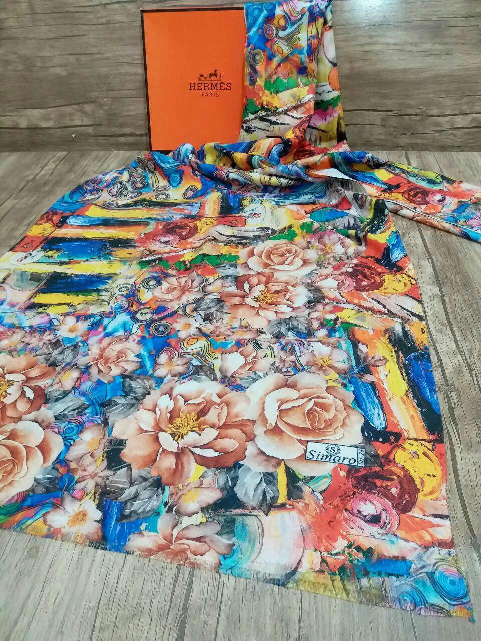 شال موهر جدید پاییزه چاپ دیجیتال sr-n236 از نمای روبرو