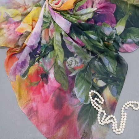 مدل جدید روسری نخی بهاره دور دست دوزsr-n 249 از نمای نزدیک