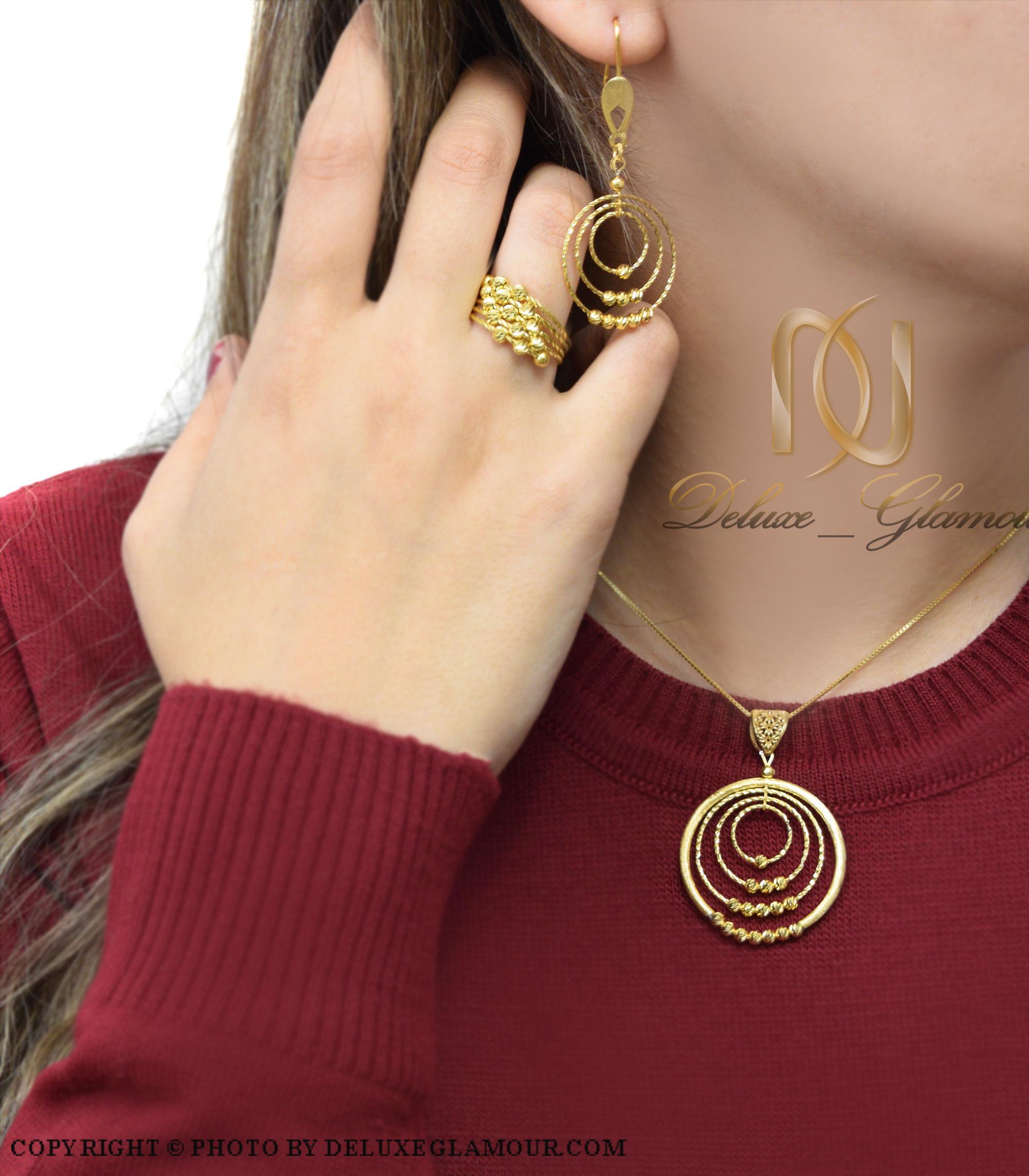 نیم ست نقره زنانه انگشتر دار طلایی ns-n420 از نمای روبرو