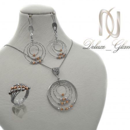 نیم ست نقره زنانه حلقه ای انگشتر دار ns-n422 از نمای کنار