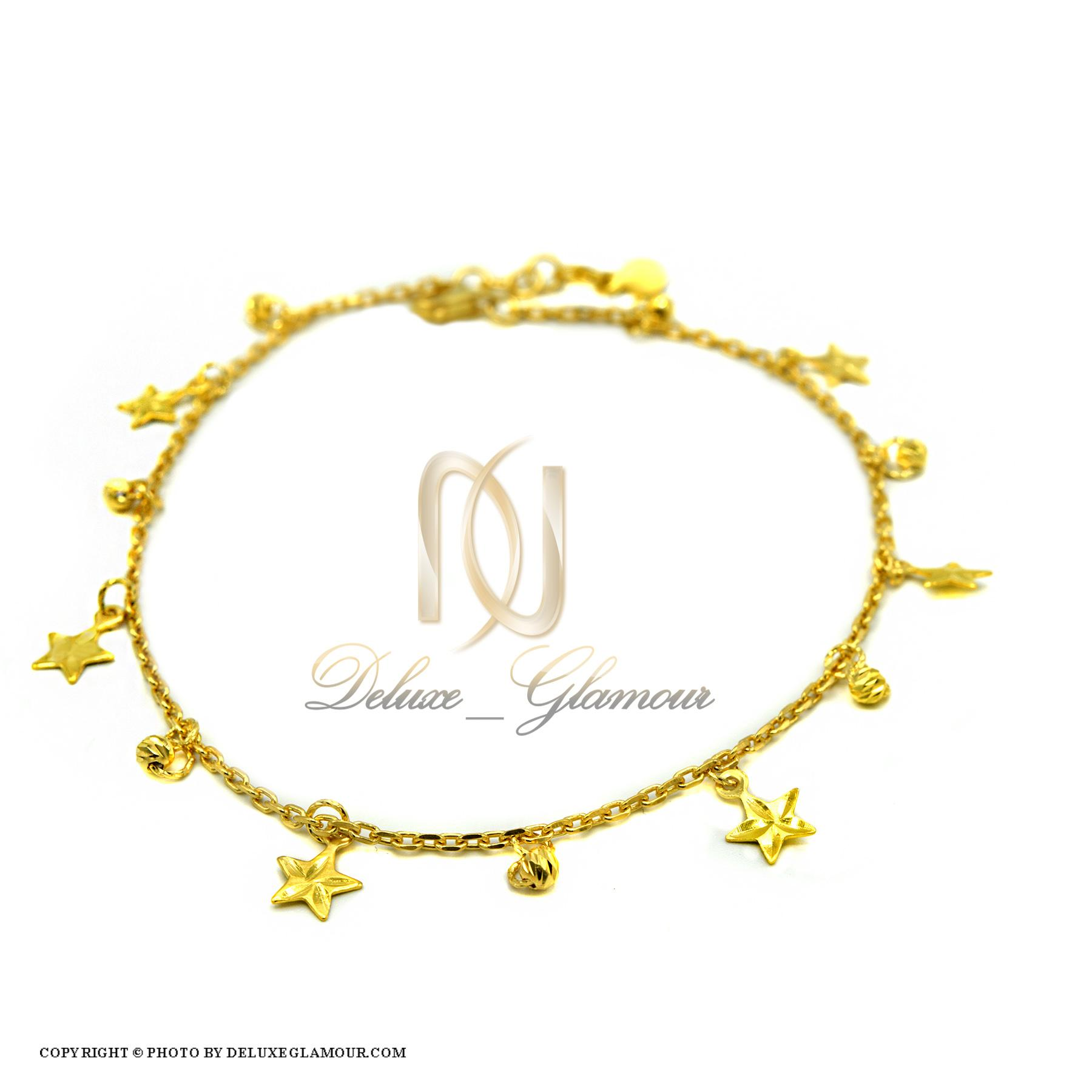 پابند دخترانه نقره طرح ستاره pa-n124 از نمای سفید