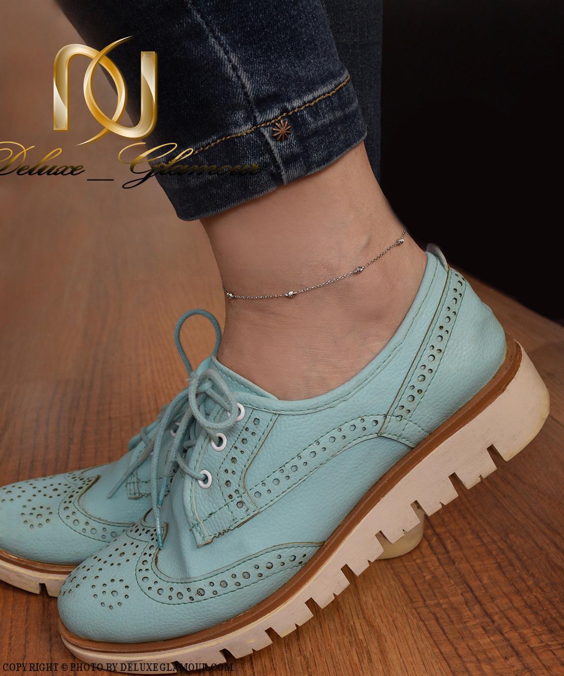 پابند نقره دخترانه ظریف pa-n127 از نمای روی پا
