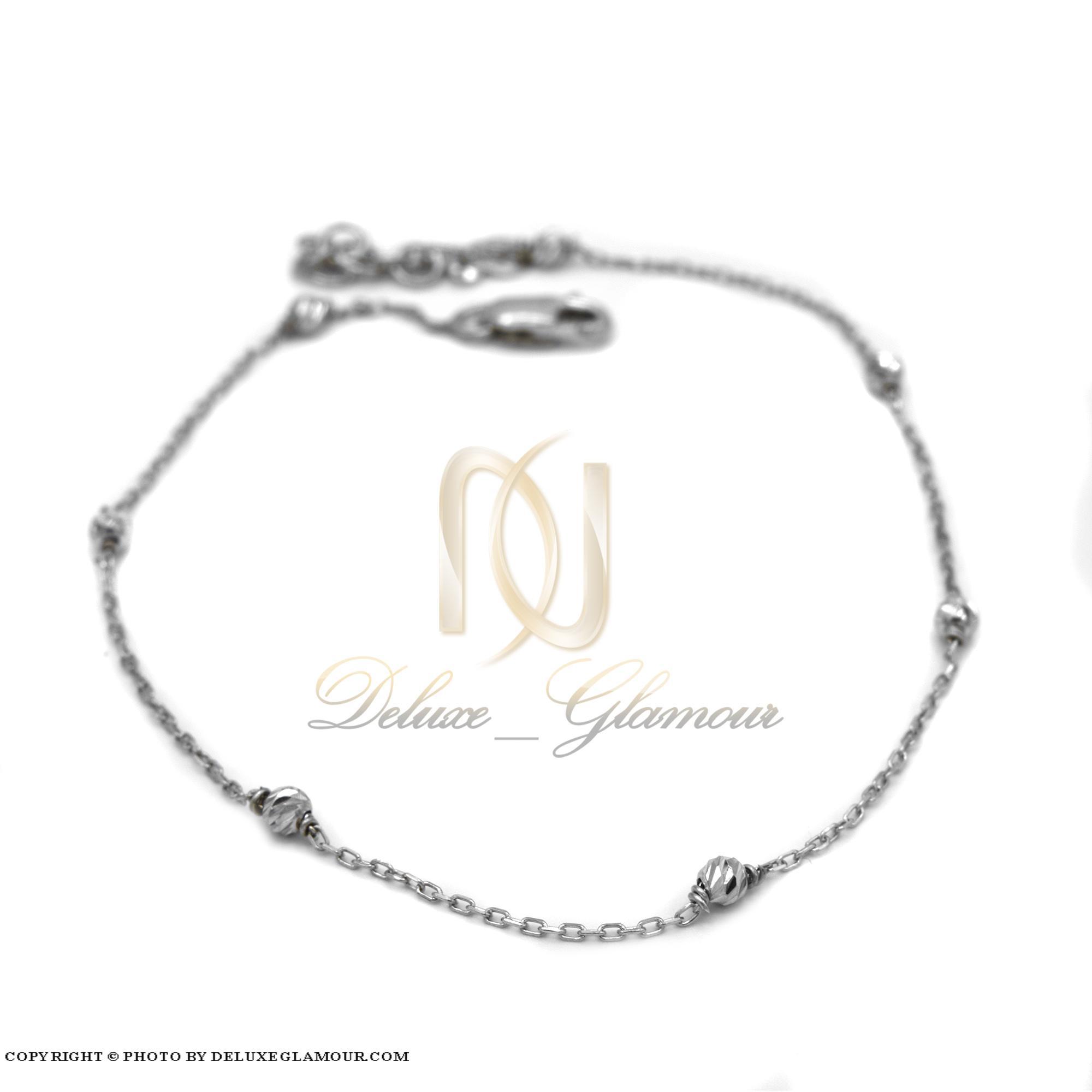 پابند نقره دخترانه ظریف pa-n127 از نمای سفید