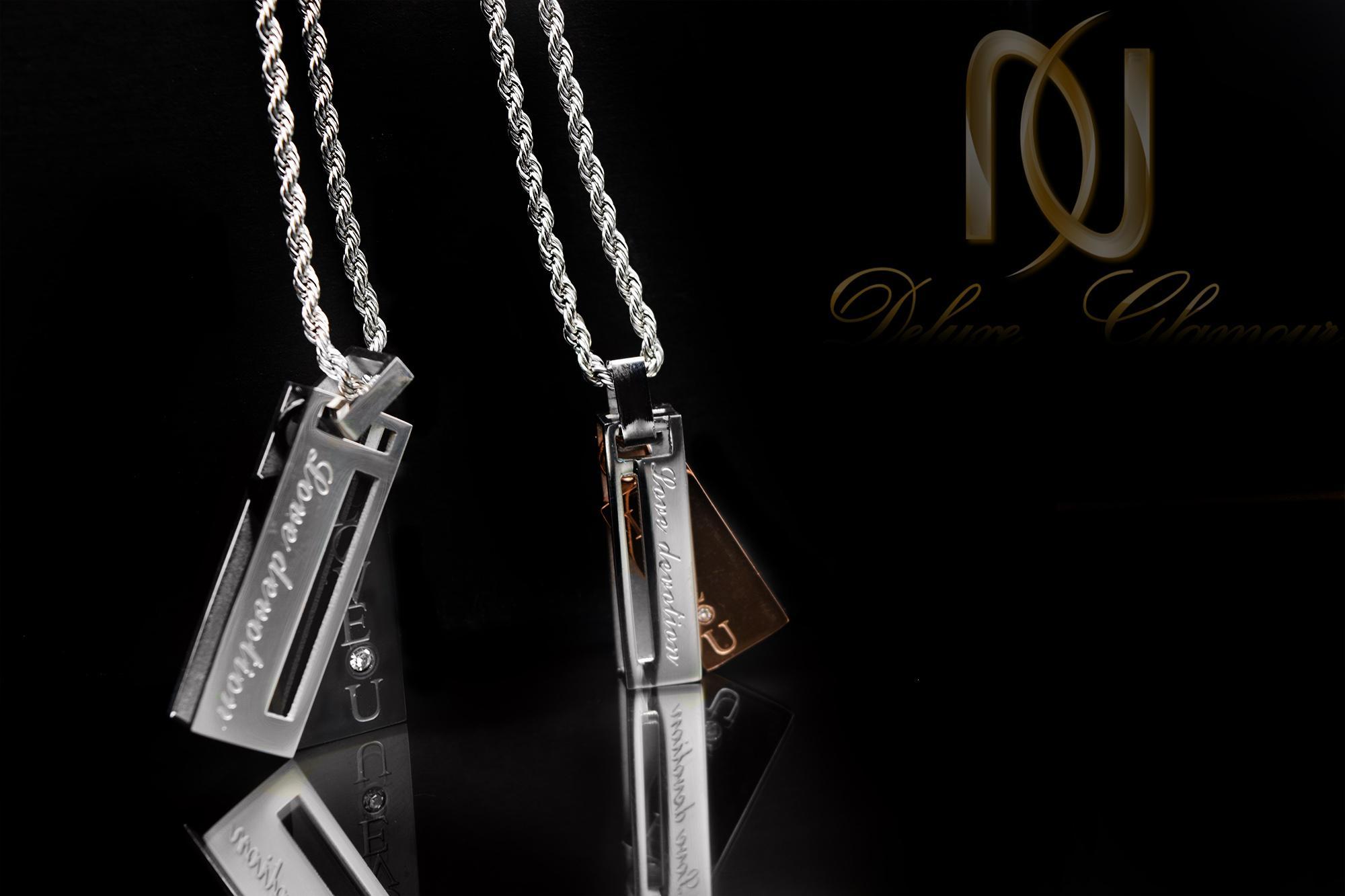 گردنبند ست عاشقانه طرح جدید mf-n136 از نمای مشکی