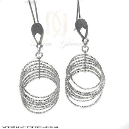 گوشواره حلقه بزرگ نقره زنانه er-n168 از نمای سفید