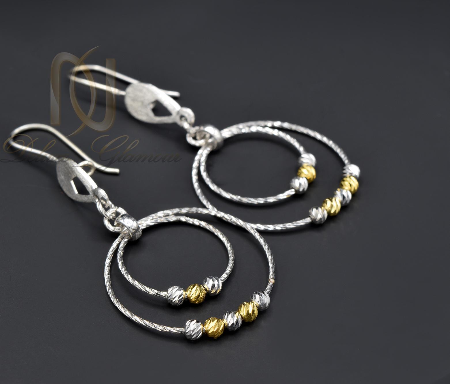 گوشواره زنانه نقره طرح حلقه بزرگ er-n161 از نمای مشکی