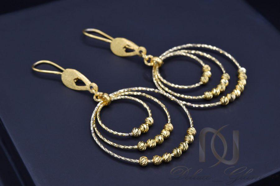 گوشواره نقره حلقه بزرگ طلایی er-n165 از