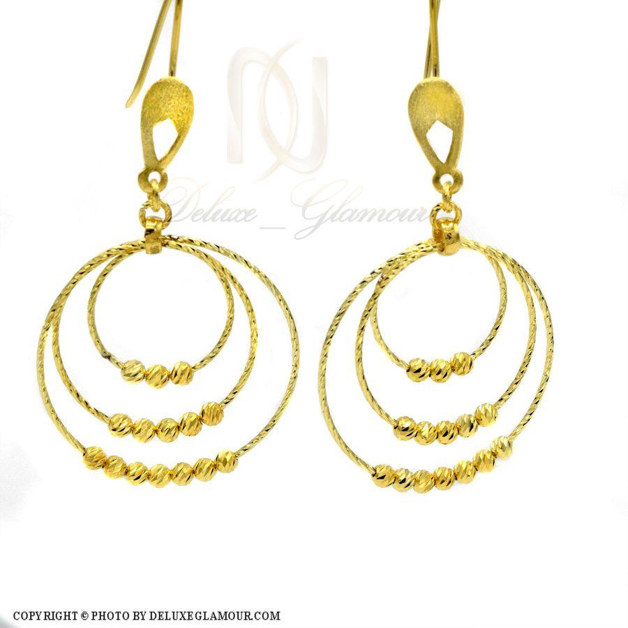 گوشواره نقره حلقه بزرگ طلایی er-n165 از نمای سفید