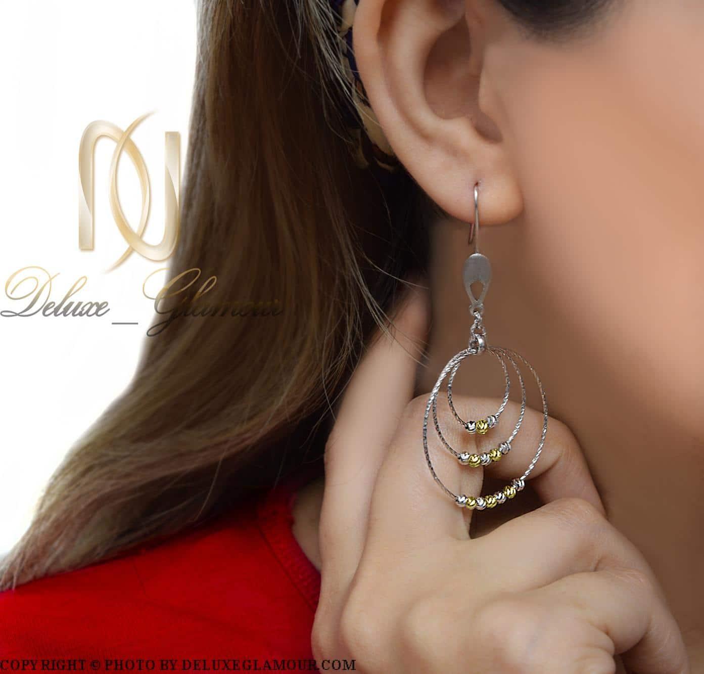 گوشواره نقره زنانه حلقه ای بزرگ er-n162 از نمای روی گوش
