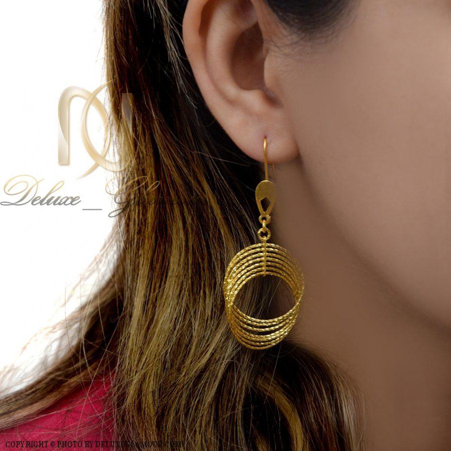 گوشواره نقره زنانه حلقه ای بزرگ er-n164 از نمای روبرو