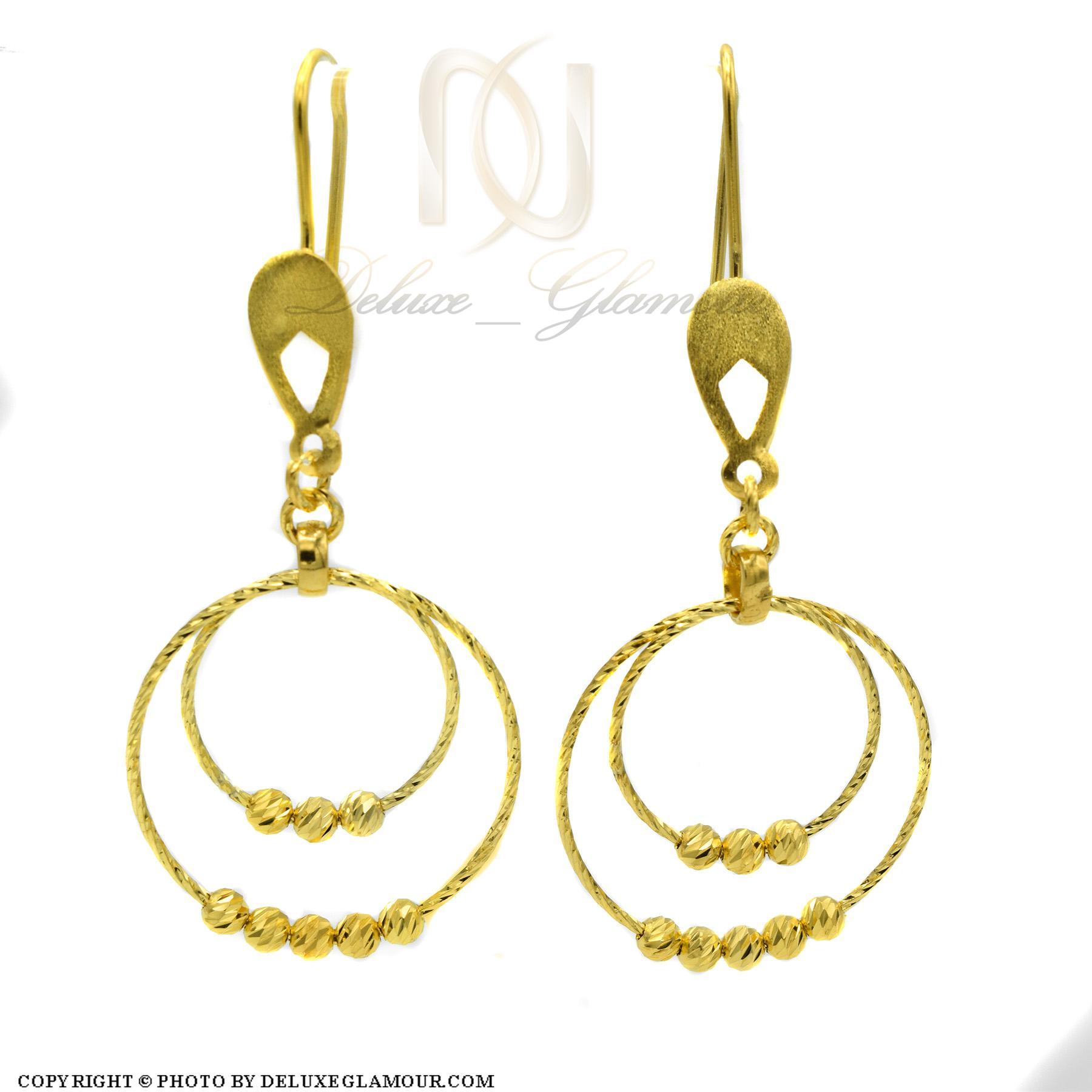 گوشواره نقره زنانه حلقه بزرگ طلایی er-n170 از نمای سفید