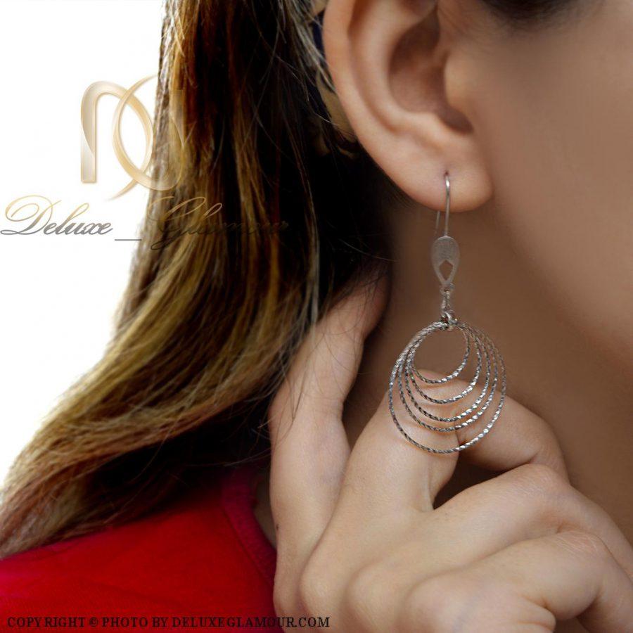 گوشواره نقره زنانه طرح حلقه بزرگ er-n163 از نمای روبرو