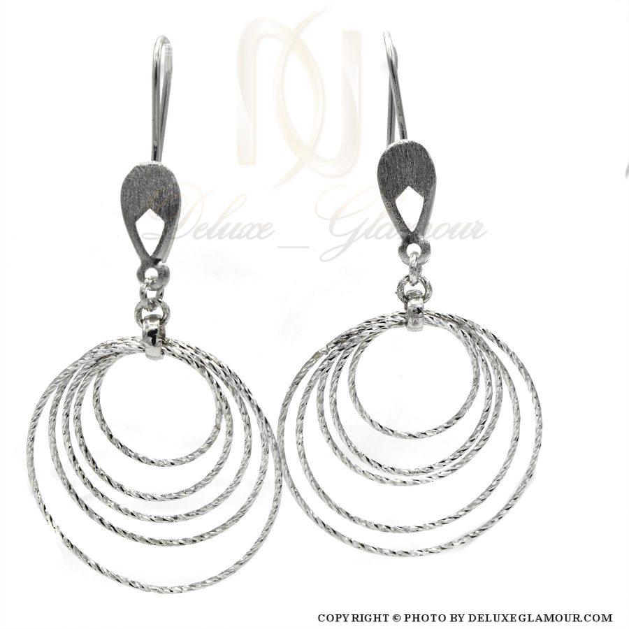 گوشواره نقره زنانه طرح حلقه بزرگ er-n163 از نمای سفید
