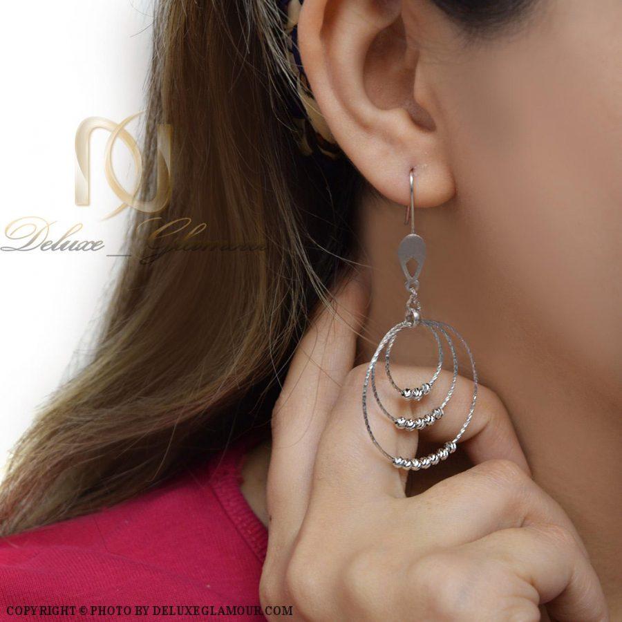 گوشواره نقره زنانه طرح حلقه بزرگ er-n166 از نمای روبرو