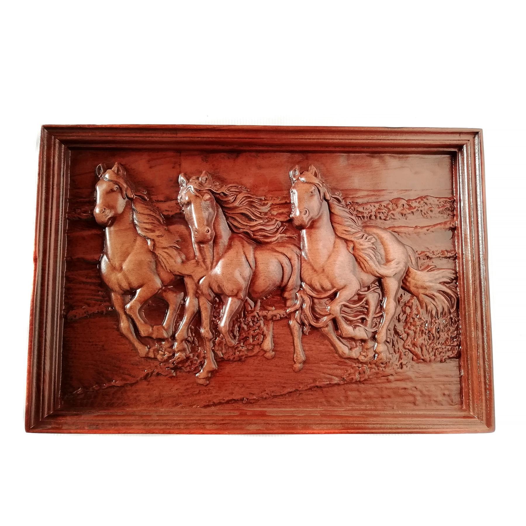 تابلو چوبی نقش برجسته سه بعدی منبت طرح اسب dc-01-عکس اصلی