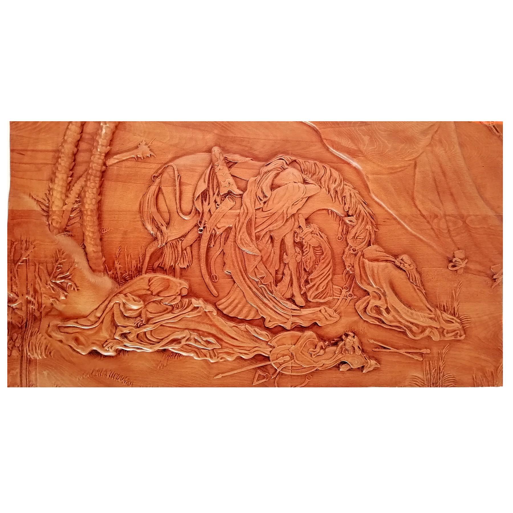 تابلو چوبی نقش برجسته سه بعدی منبت عصر عاشورا از نمای روبرو