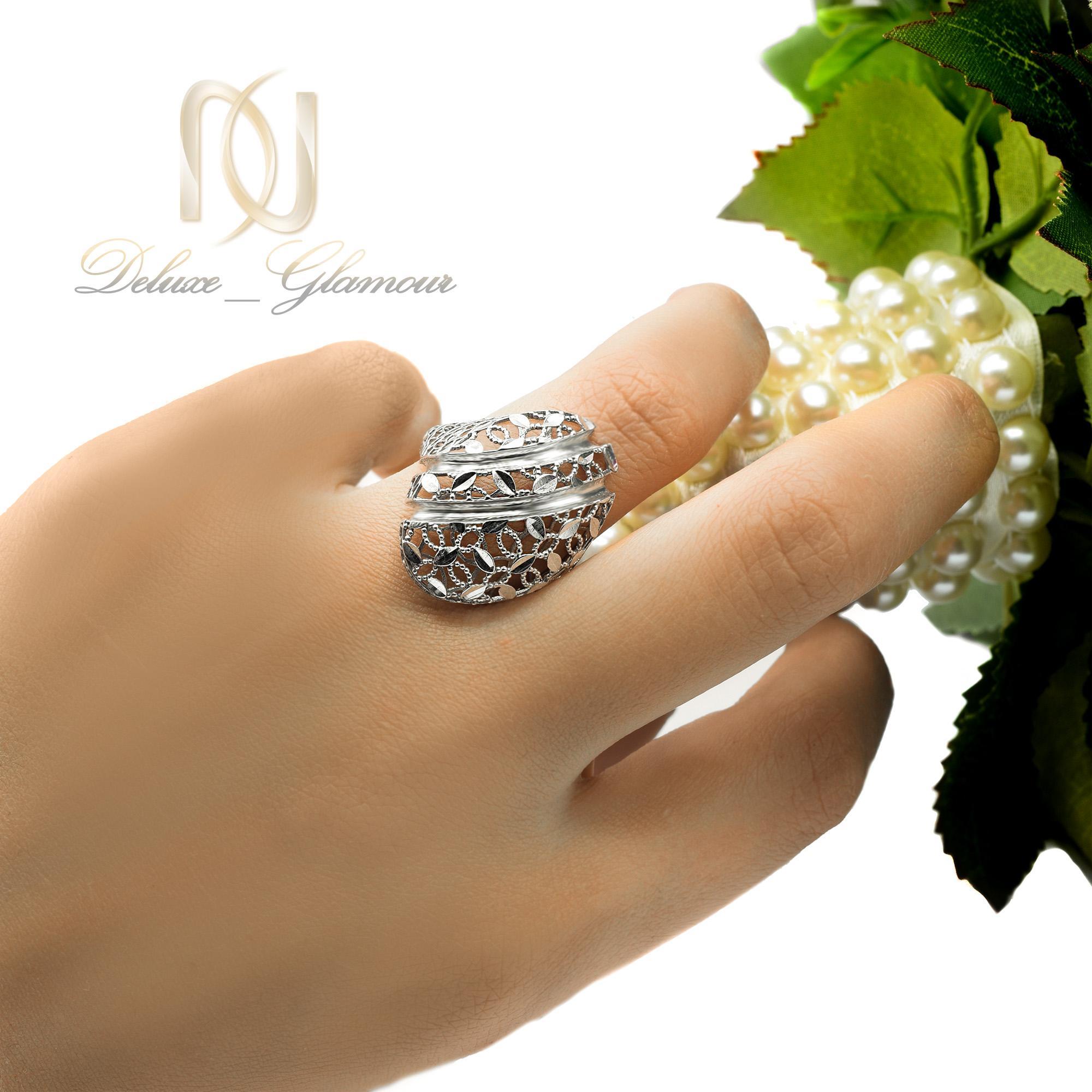 انگشتر نقره زنانه تراش طرح جدید rg--n305 از نمای روی دست