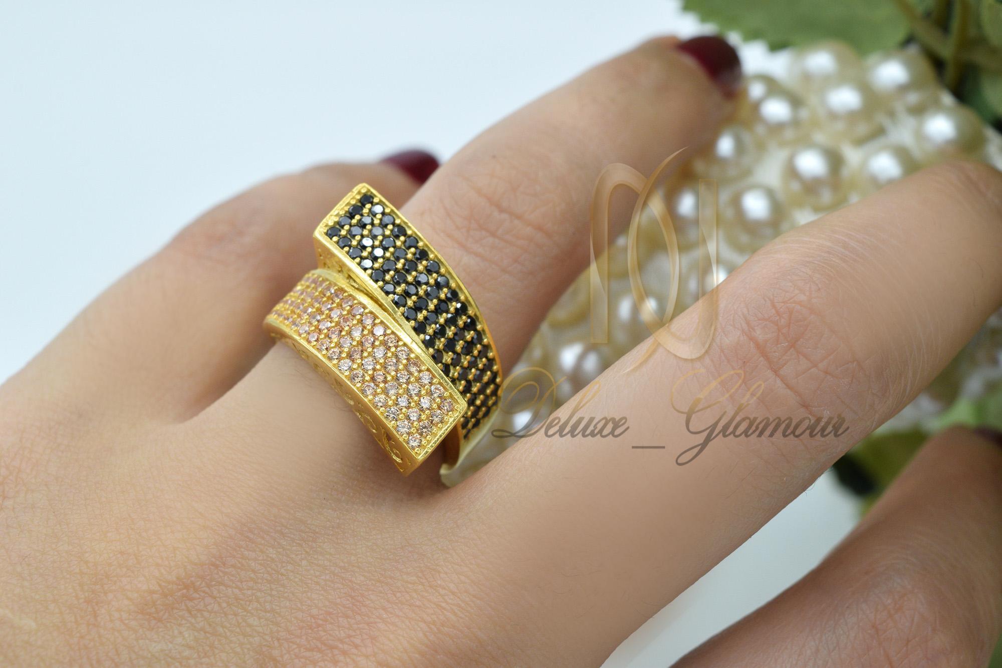 انگشتر نقره - آبکاری نقره با طلا بسیار شیک