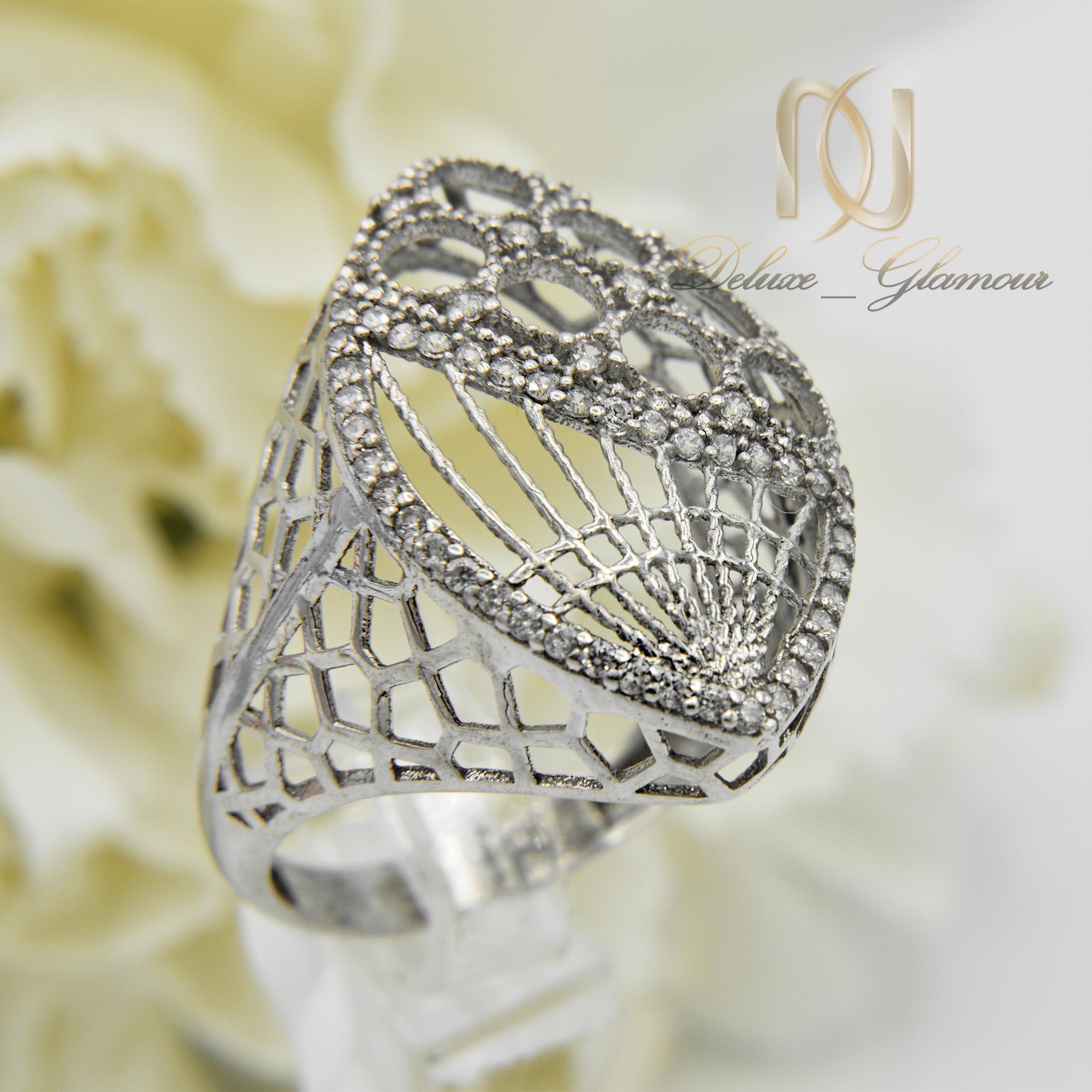 انگشتر نقره زنانه طرح طلای توری rg-n304 از نمای کنار