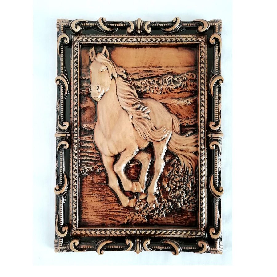 تابلو چوبی نقش برجسته سه بعدی منبت اسب طرح dc 11 | تابلو چوبی نقش برجسته سه بعدی منبت طرح اسب dc-11