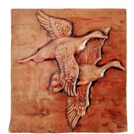 تابلو چوبی نقش برجسته سه بعدی منبت طرح اردک dc-08