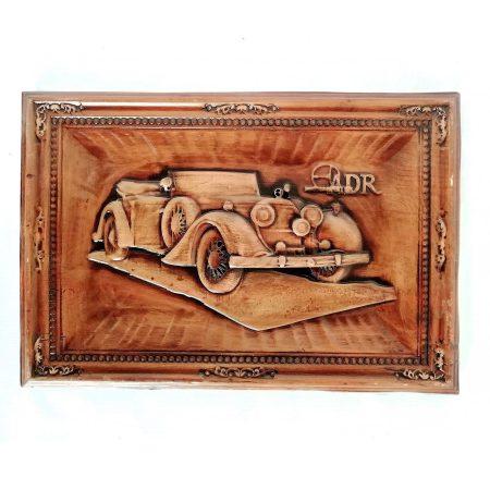 تابلو چوبی نقش برجسته سه بعدی منبت طرح ماشین کلاسیک dc-010