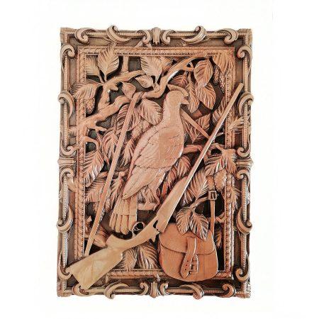 تابلو چوبی نقش برجسته سه بعدی منبت پرنده طرح dc-07