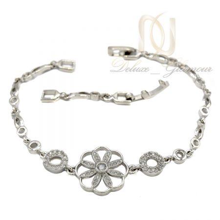 دستبند استیل دخترانه طرح گل ظریف فری سایز ds-n015 عکس اصلی