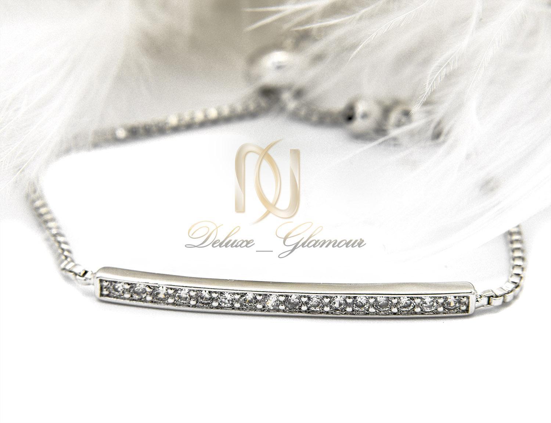دستبند استیل دخترانه نقره ای مارشالی ds-n399 از نمای نزدیک