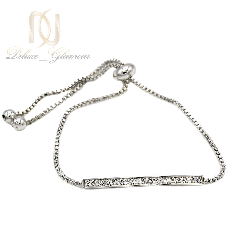 دستبند استیل دخترانه نقره ای مارشالی ds-n399 از نمای سفید