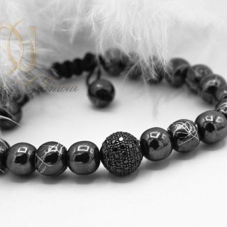 دستبند اسپرت دخترانه سنگ حدید با کریستال سوارسکیzn-n117