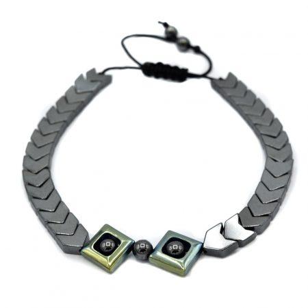 دستبند اسپرت دخترانه سنگ حدیدzn-n118 از نمای نزدیک