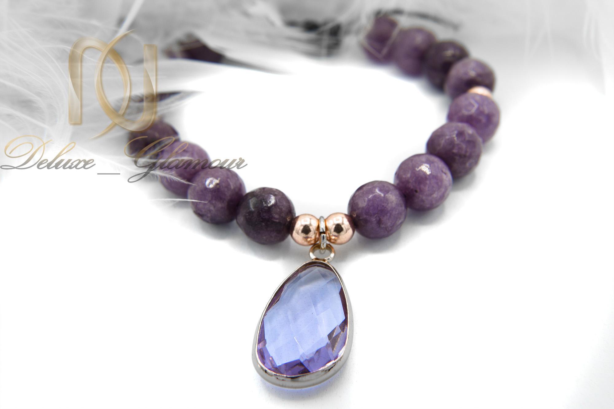 دستبند اسپرت دخترانه سنگ عقیق با کریستال شیشه ای zn-n119