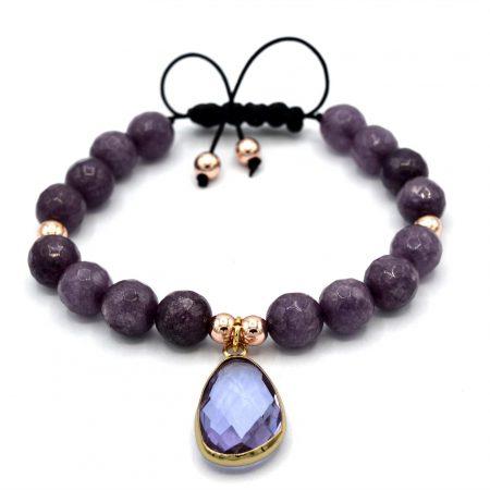دستبند اسپرت دخترانه سنگ عقیق با کریستال شیشه ایzn-n119 از نمای نزدیک