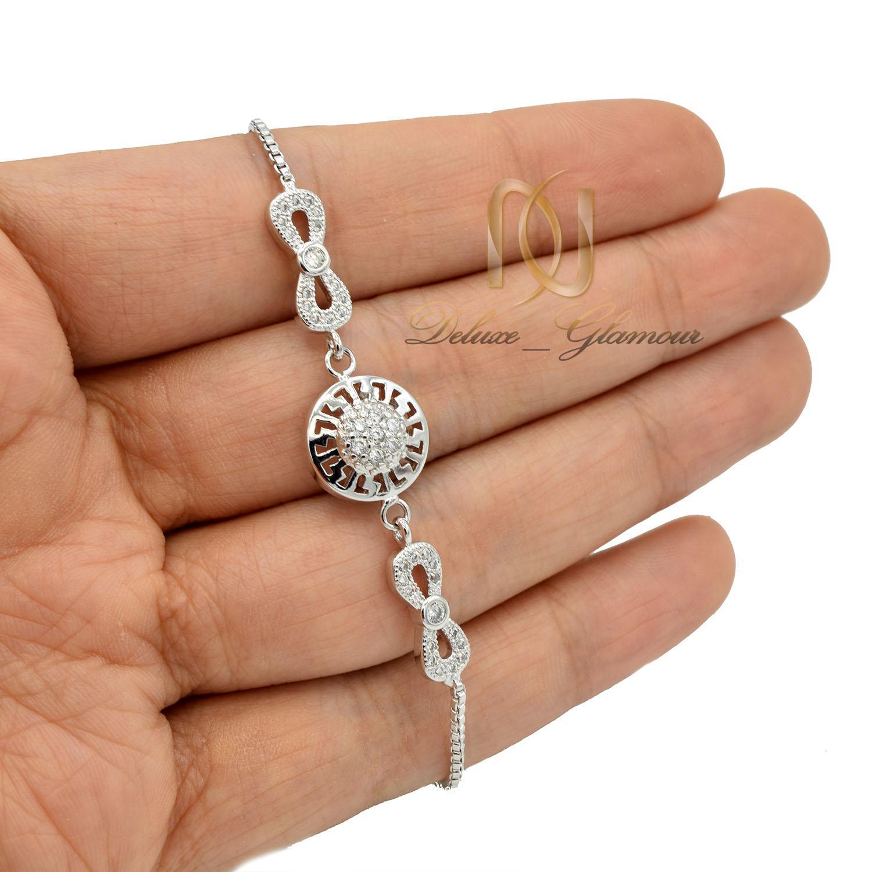 دستبند دخترانه استیل طرح بی نهایت نقره ای ds-n404 از نمای روی دست