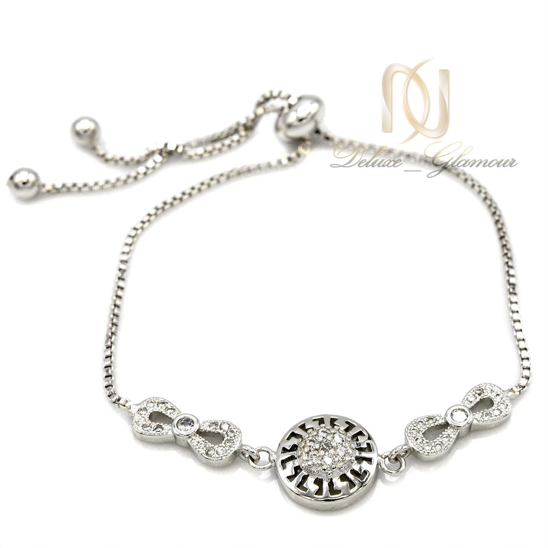 دستبند دخترانه استیل طرح بی نهایت نقره ای ds-n404 از نمای سفید